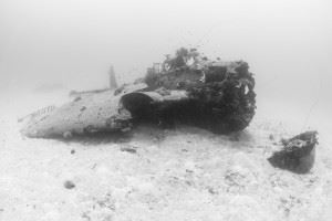 Wreck of Avenger at Airplane Graveyard in Pacific Ocean (Credits: Brandi Mueller for Argunners)