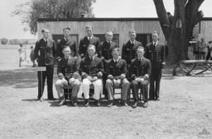 """""""Group portrait of German Officer prisoners of war (POWs) interned in No. 13 POW Group at Dhurringile near Murchison. They are survivors of the German Auxiliary Cruiser Kormoran which was sunk in November 1941 in an engagement with HMAS Sydney. This resulted in the Sydney being sunk with the loss of the entire crew. Back row, left to right: Oberleutnant zur See Joachim Greter; Oberleutnant zur See Edmond Schafer; Oberleutnant Freiherr Reinhold von Malapert; Oberleutnant Fritz Skeries; Oberleutnant Joachim von Gosseln; Oberleutnant Wilhelm Brinkmann. Front row: Kapitanleutnant Henry Meyer; Kapitanleutnant Kurt Foerster; Fregattenkapitan Theodor Detmers (Commanding Officer); Oberleutnant Heinz Messerschmidt."""""""