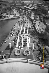 Seldom images of Battleship Roma's exterior; turrets and deck guns.