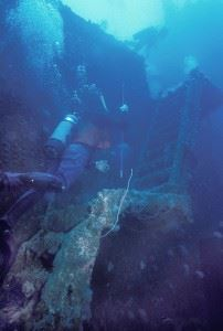 Gangway of USS Saratoga Shipwreck in Bikini Atoll