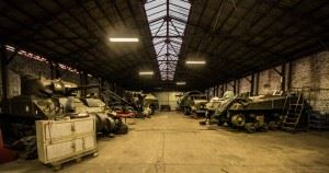 Hangar view, full of WW2 Vehicles, Tanks and Classic Cars