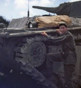 Jerry and an LVT(A)-4 Amtank on Okinawa, 1945. (Credits: Michael Smith)