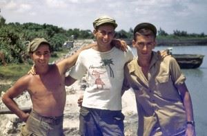 Jerry smith and two fellow comrades at the shore of Okinawa.