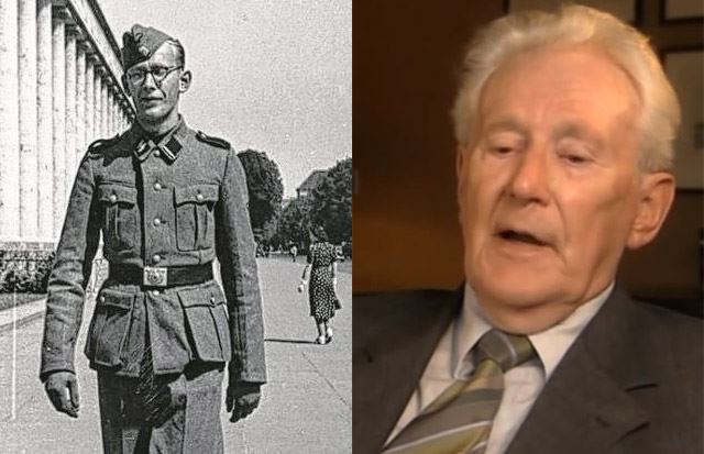 Oskar Gröning during World War II (left) and how he looks today (right).