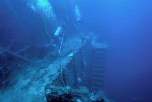 Side view of USS Saratoga Shipwreck in Bikini Atoll