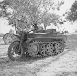 Captured German Kettenkrad by the British Army, 23 July 1943 in Sicily. (Credits: Imperial War Museum)