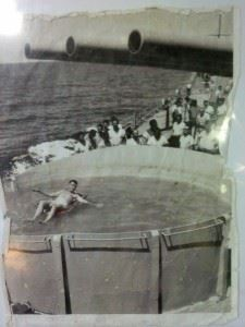 Capt Snyder (CO 1968-1969) in one of the two SWIMMING POOLS he had installed on the ship in old BOFURS gun mounts. This one was outside his in-port cabin 02 level Starboard side.