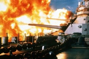 """The USS New Jersey fires a salvo from its 16""""/50 guns during a deployment off the coast of Beirut, Lebanon."""