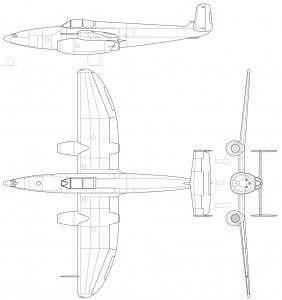Three-view drawing of the Heinkel He-280 jet fighter. (Credits: Kaboldy / Wikimedia Commons)