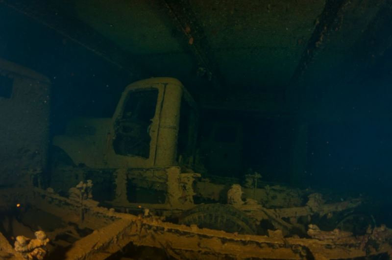 Trucks in the Hoki Maru. (Credits: Brandi Mueller)