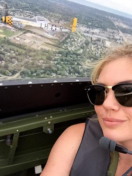 Kate Upton flying in a P-51. (Credits: Kate Upton)