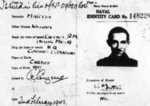 """The identification papers for """"Maj. William Martin,"""" a fictional Royal Marine."""
