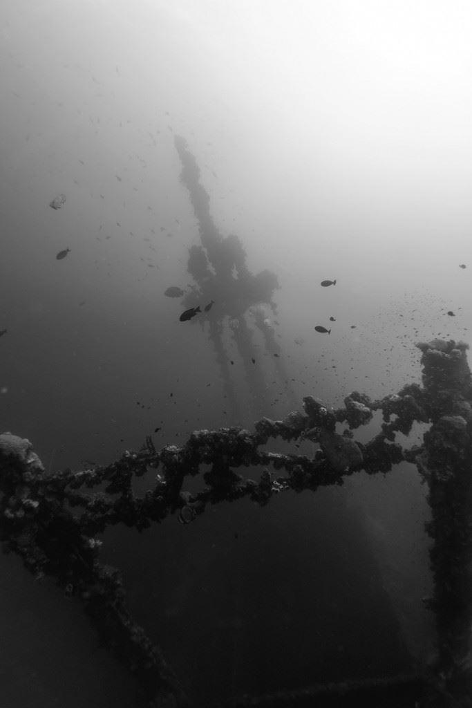 Huge masts of the Nippo Maru. (Credits: Brandi Mueller)