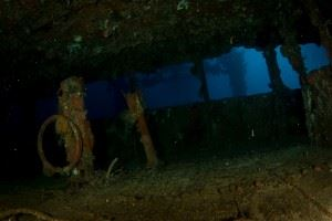 Inside the wheelhouse of the Nippo Maru shipwreck. (Credits: Brandi Mueller)