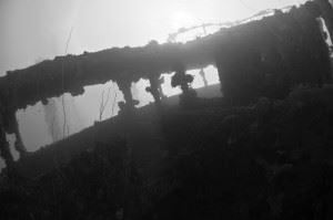 Wheelhouse of the Nippo Maru shipwreck. (Credits: Brandi Mueller)
