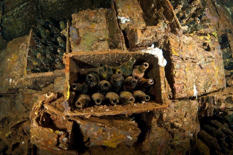 Bottle Room of the Rio de Janeiro Maru. (Credits: Brandi Mueller)
