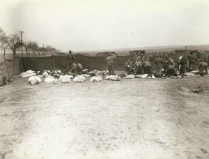 Dead American and German soldiers at a cemetery before burial, place unknown. Each body is placed in a mattress cover. German prisoners are doing the work of digging the graves and placing the bodies in them.