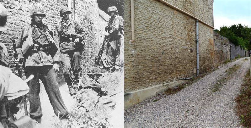 Soldiers of SS-Panzergrenadier Regiment 25, resting in a small street in Rots, Normandy. 9 June 1944.