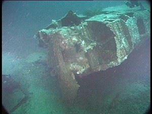 Damaged bows of U-2511. (Credits: Innes McCartney)