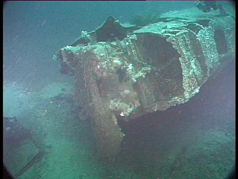 Damaged bows of U-2511. (Credits: Innes McCartney)