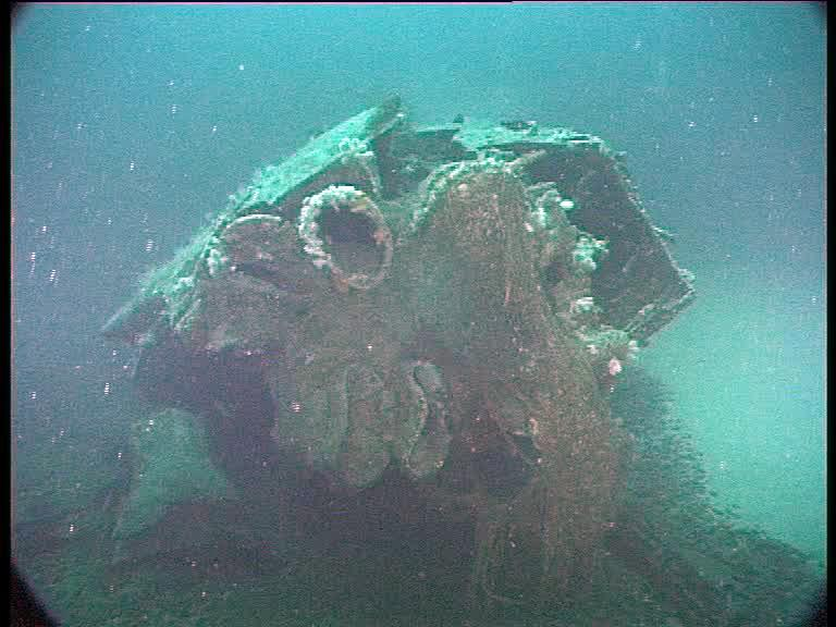 The six torpedo tubes have been crushed when the U-boat hit the seabed (Credits: Innes McCartney)