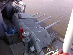 View on the guns of the midships of the USS New Jersey (BB-62)