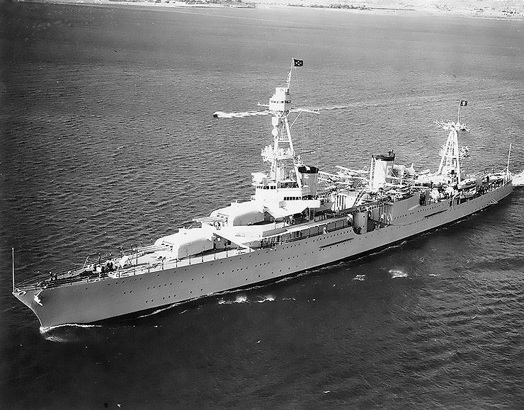 Off San Diego, California, in October 1935, with President Franklin D. Roosevelt on board. She is flying an admiral's four-star flag at her foremast peak, and the Presidential flag at her mainmast peak. (Credits: US Navy)