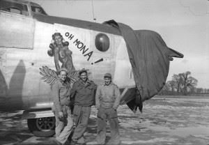 """B-24 """"Oh Mona!"""" from the 755th Bombardment Squadron, 458th Bombardment Group of the Eight Air Force."""