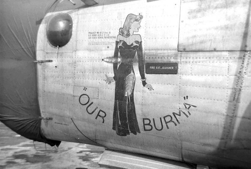"Nose-Art from the B-24J ""Our Burma"", 755th Bombardment Squadron, 458th Bombardment Group of the Eight Air Force."