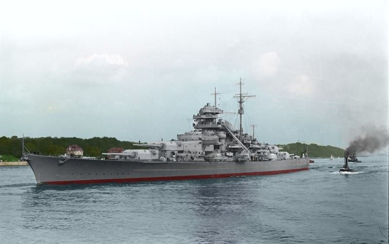 Colorized image of the Schlachtschiff Bismarck. (Credits: Bundesarchiv)