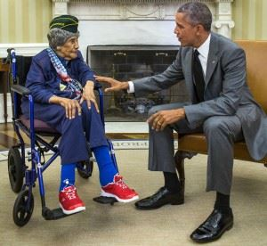 President Barack Obama greets the nation's oldest living veteran, Emma Didlake, in the Oval Office, July 17, 2015. (Credits: Pete Souza / White House)
