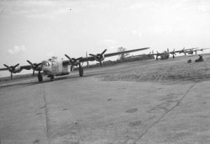 Ford-built B-24J (serial 42-51939) assigned to the 755th Bomb Sq, 458th BG at Horsham St. Faith (AAF Station 123), probably taken in the early fall of 1944. In October it was transferred to the 753rd Bomb Sq; on 2 May 1945 the crew bailed out when bad weather prevented a descent to land. The ship crashed about 10 miles from Oxford.