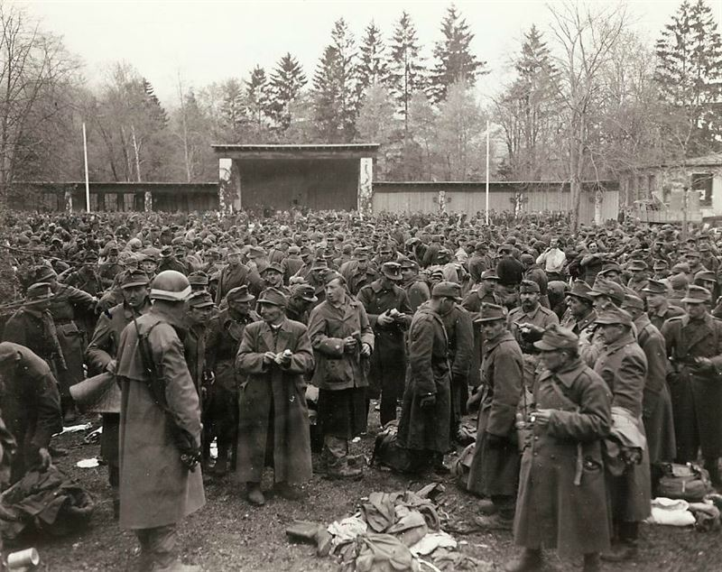 Hungarian surrender: Great mass of Hungarian troops who surrendered to Seventh Army, are rounded up in Garmisch-Partenkirchen, scene of the last winter Olympics held before the war. Troops were claimed by their leader to have been used as service or labor troops.