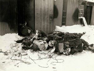 Horrors of War: A pile of dead German soldiers, France, frozen due to the cold weather.
