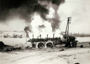 This French 2 1/2 ton truck burned when its cargo of 800 gallons of gasoline exploded.