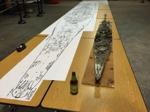 """Hold my calls, I'm going to be busy for a while! As you can see by the beer bottle I've a huge project ahead of me and I'm thinking, """"Oh my god, what have I gotten myself into!"""" The plans on the left will aid me build the USS Missouri in 1/35 scale. The model on the right is my previous USS Missouri built to 1/140 scale for comparison."""""""