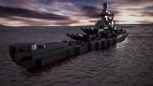 The Brickmania digital design team went hog-wild with the USS Missouri model and made this rendering!