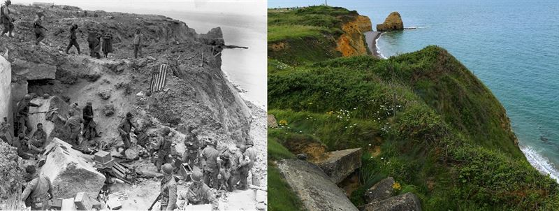 June 8, 1944 A US flag lies as a marker on a destroyed bunker two days after the strategic site overlooking D-Day beaches was captured by US Army Rangers at Pointe du Hoc, France 1944