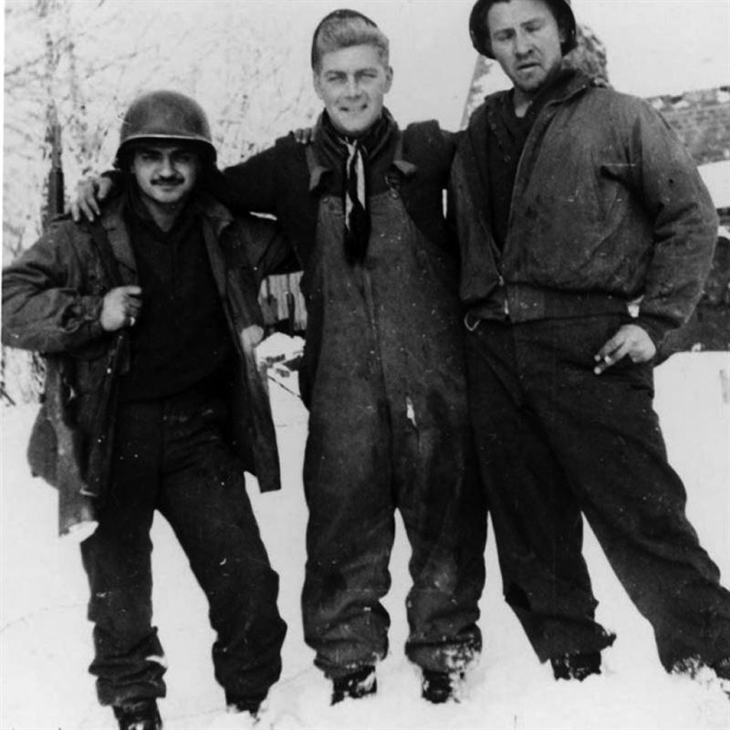 Staff Sgt. Rocco Moretto (left) with Tech Sgt. Bob Wright (later killed in action) at Bütgenbach, Belgium in December 1944. (Credits: Robert F. Dorr)