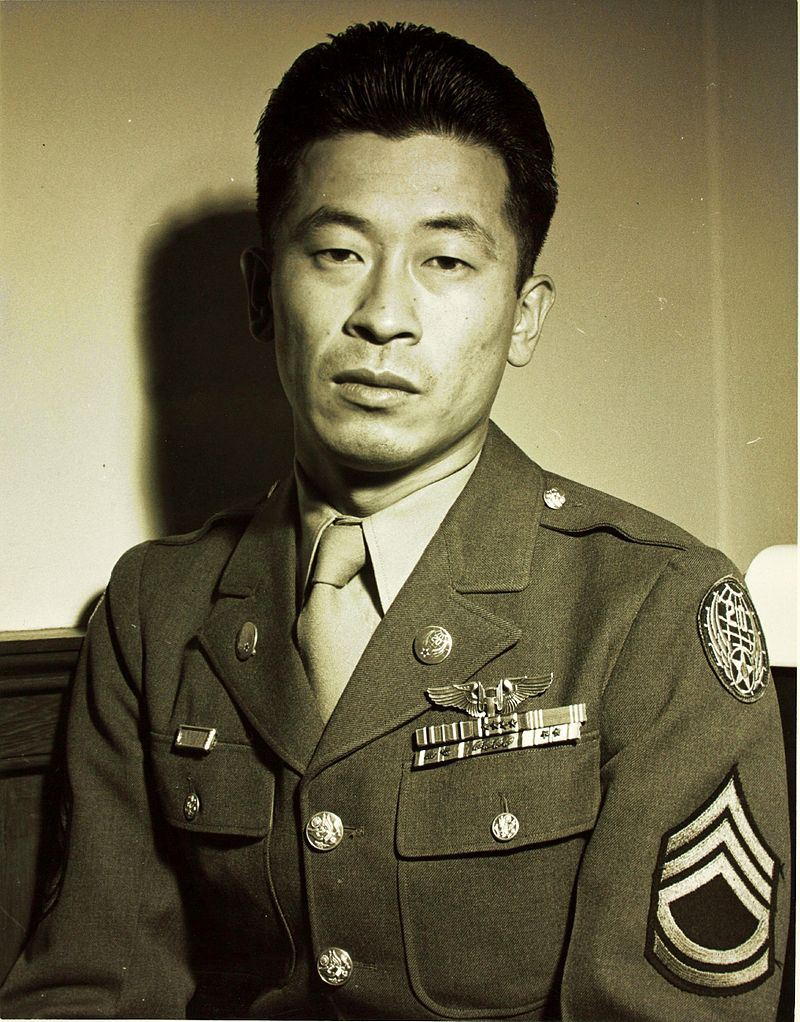 Technical Sergeant Ben Kuroki shown wearing Distinguished Flying Cross (×3), Air Medal with oak leaf clusters (×5) and service medals for World War II service (Credits: San Diego Air and Space Museum Archive)