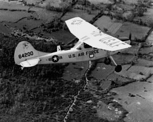 The Cessna O-1 Bird Dog, the usual plane of the Ravens. During Raven usage, the O-1s were flown without military markings.