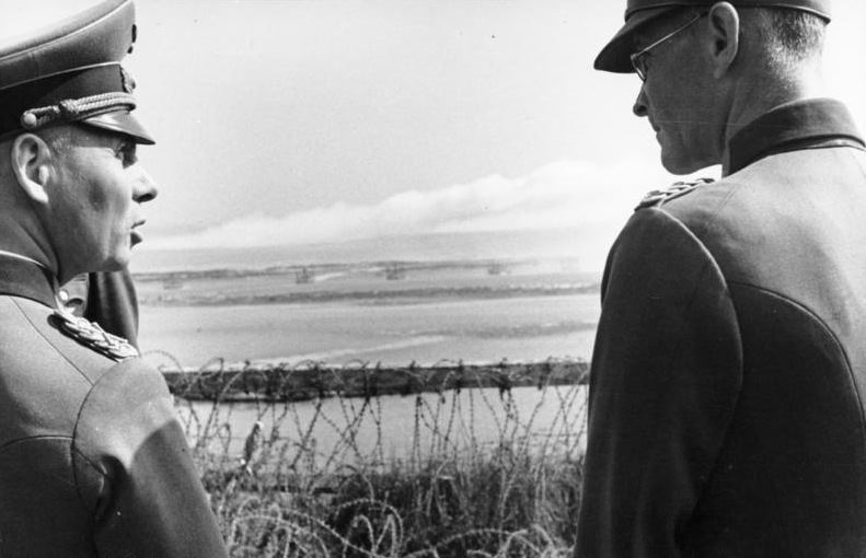 Rommel observes the fall of shot at Riva-Bella, just north of Caen in the area that would become Sword Beach in Normandy. (Credits: Bundesarchiv via Wikipedia)