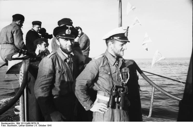 German U-552 in St. Nazaire, France during World War II. The officer seen is Lothar-Günther Buchheim. (Credits: Bundesarchiv / 101II-MW-3676-28)