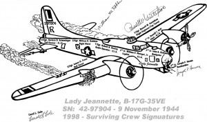 Drawing of the B-17 Lady Jeannette