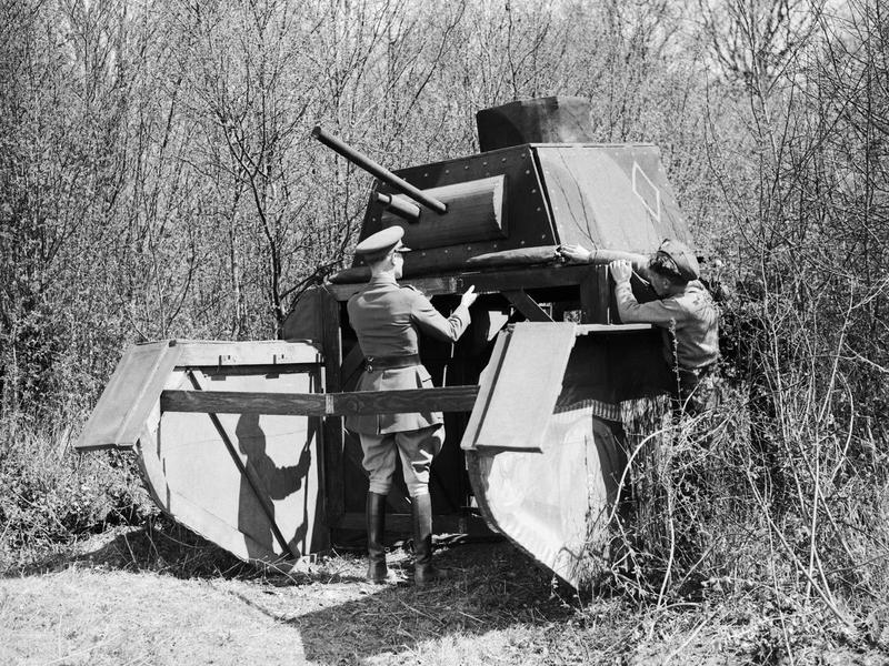 A dummy cruiser tank being assembled at the camouflage school at Beaumetz, 24 April 1940. (Credits: © IWM (F 4008))