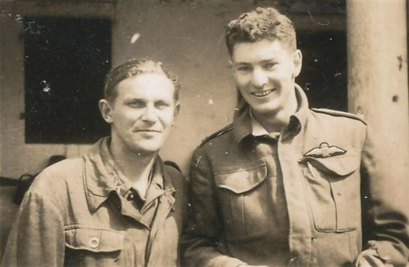 """Once Wartime Friends"" Peter During with one of his former captors."