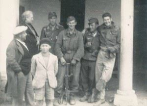 """""""Once Wartime Friends"""" Peter During with 3 of his former captors, soldiers of a Luftwaffe Flak unit."""