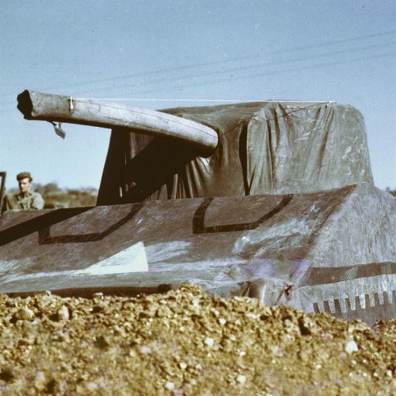 Dummy M4 Sherman tank of the type used by the Ghost Army. It weighed 93 pounds fully inflated. (Credits: National Archives)
