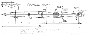 "Diagram of Fairbairn-Sykes Fighting Knife, issued to British Commando forces in WWII. Image taken from page 69 of Fleet Marine Force Reference Publication 12-80, ""Kill or Get Killed"" by Rex Applegate."