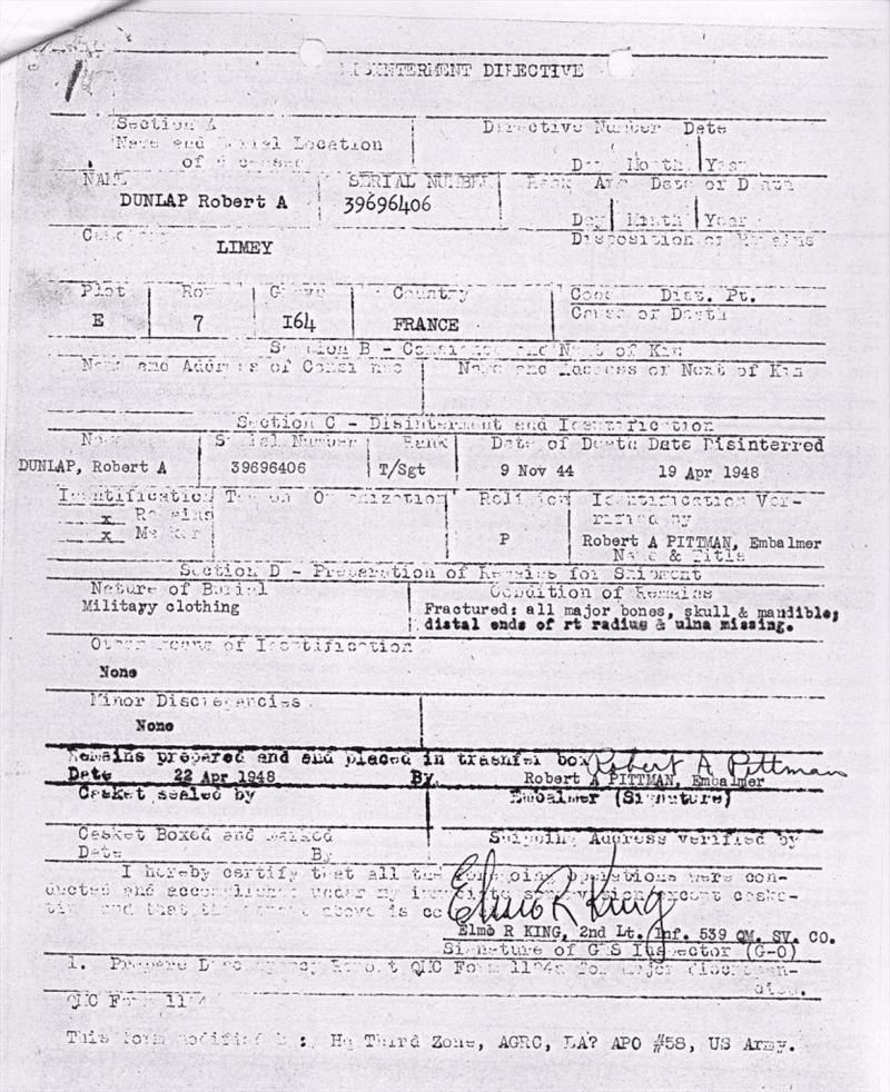 Lady Jeannette - Burial Report Dunlap